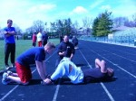 Author conducting fitness testing for police recruits