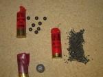 Hornady 00 Buck with 8 .33 pellets (top left), Federal Rifled Slug (bottom left), Winchester #71/2 Birdshot (right)