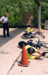 The author teaching bike patrol officers how to shoot from the crash position