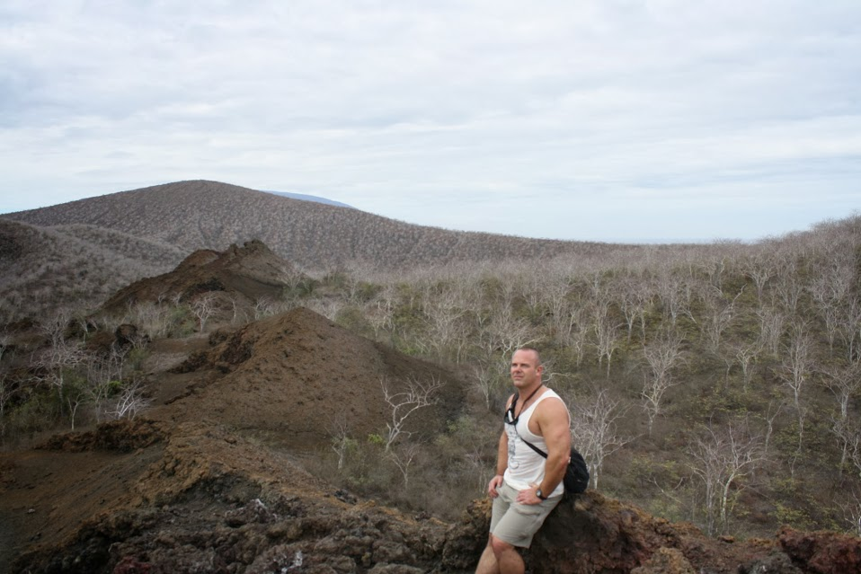 Hiking in the stark landscape (dry season) above Darwin Lake.