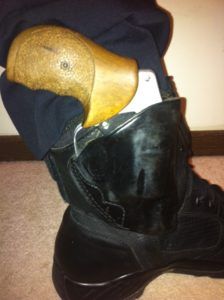 Alessi ankle holster wrapped around boot top