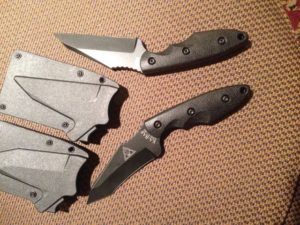 The new Kabar TDI/Hinderer collaborations. The sheath has a thumb release. Made in the USA.