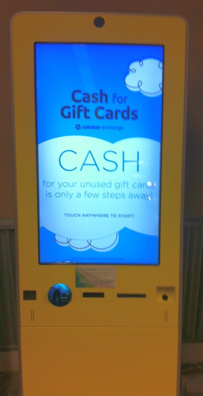 gift cards into machine
