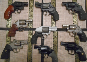 Top Row L-R: Model 10, Model 327 (L-Frame .357), Model 10. Middle Row L-R: Model 10 (nickel), Model 242 (7-shot L-frame .38) with CT laser grips, Model 12 (airweight nickel) Bottom Row L-R: Model 15 (adjustable sights, nickel), Model 10, Model 12 (airweight)