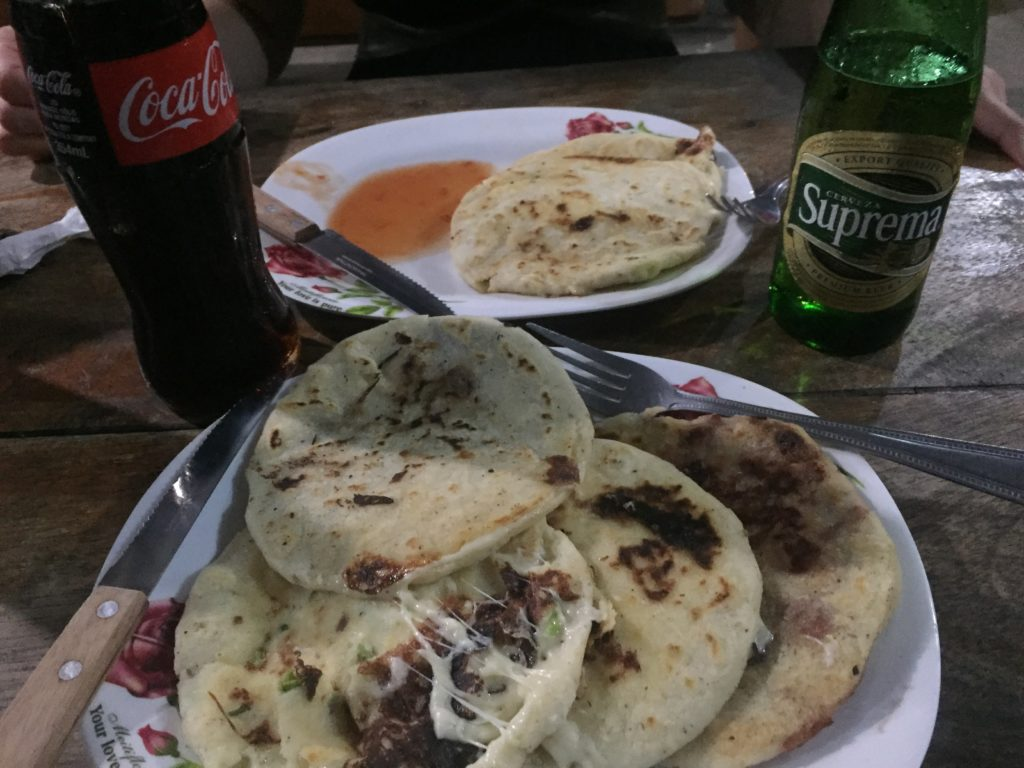 One of our typical dinners. Pupusas and drinks for less than $10.