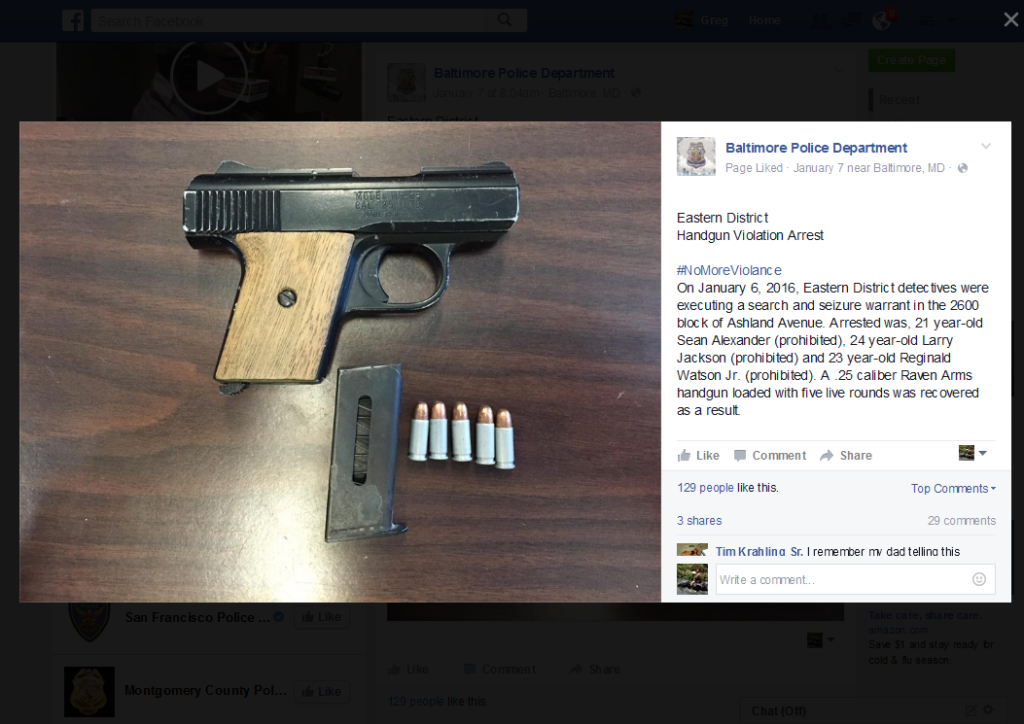 An example of a seized weapon post from Baltimore PD's Facebook page.