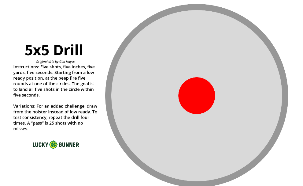 graphic about Printable Pistol Drill Targets referred to as The 5 x 5 Taking pictures Drill and Some Brain upon Exercising